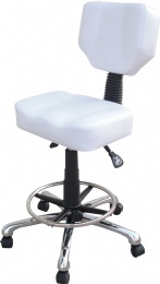 TF51 Back Rest Tattoo Stools Medical Rubber Wheels white